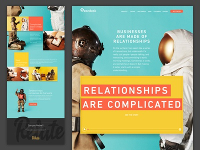 Relationships are complicated 2 bright scuba diver astronaut relationships campaign photography billboard landing page zendesk