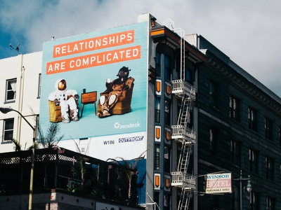 real. life. people bright scuba diver astronaut relationships campaign photography billboard landing page zendesk
