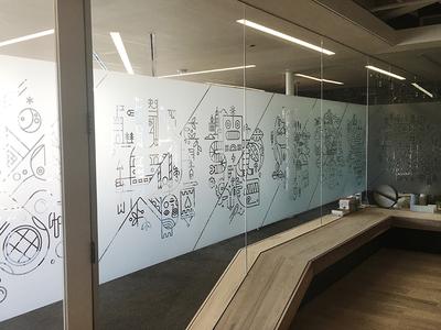 The Balance of Opposites - Zendesk Mural line art mural eight hour day illustration