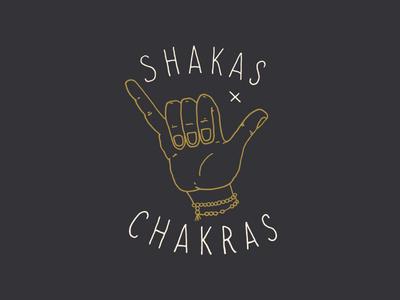 Shakas + Chakras neveandhawk neve and hawk hand drawn screen print tshirt illustration