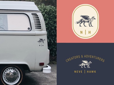 flying wolf-dog thing bus vintage color brand illustration creators and adventurers identity neve | hawk