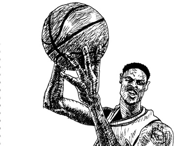 Tyson Chandler sketch chicago bulls tyson chandler sketch debut sports basketball drawing illustration