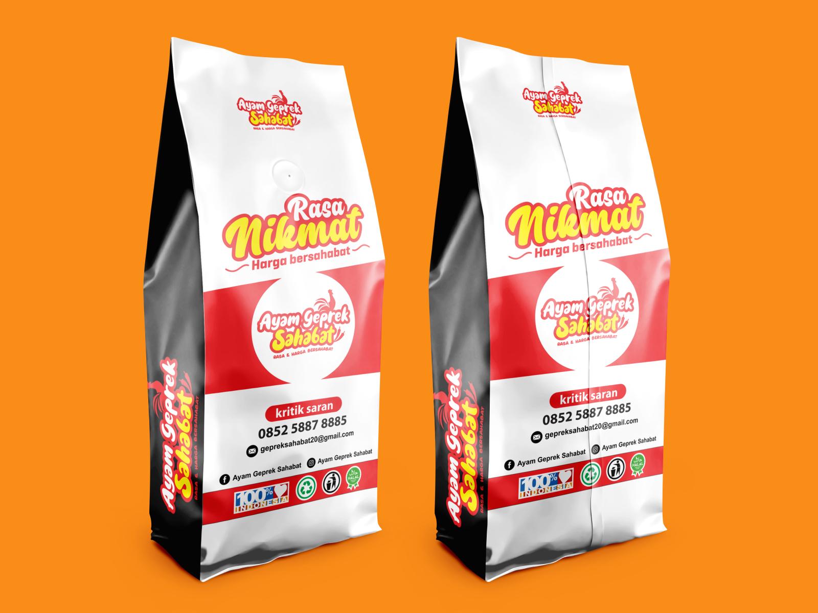 packaging logo design ayam geprek sahabat by idealis on dribbble packaging logo design ayam geprek