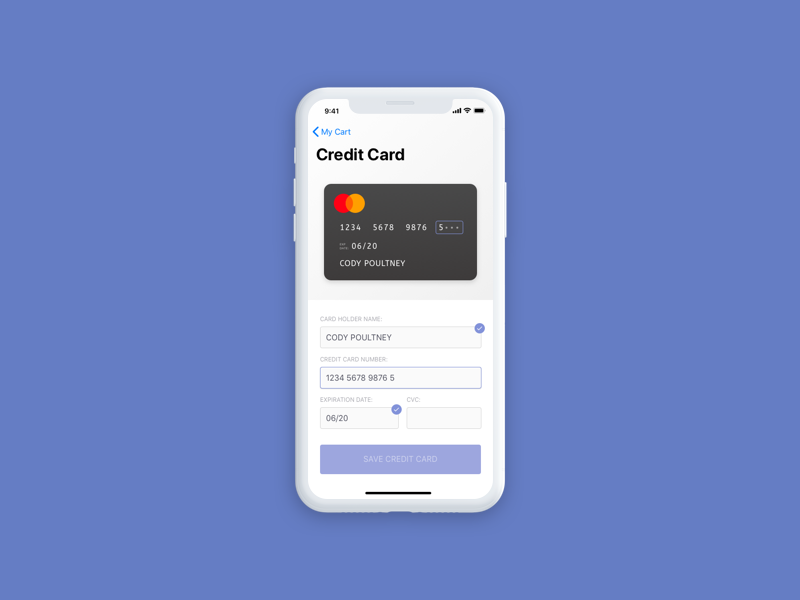 Daily UI Day 2 - Credit Card