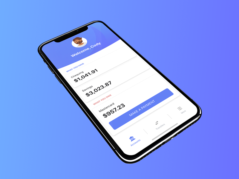 Bank with ease sketch mobile app ui minimal iphonex banking