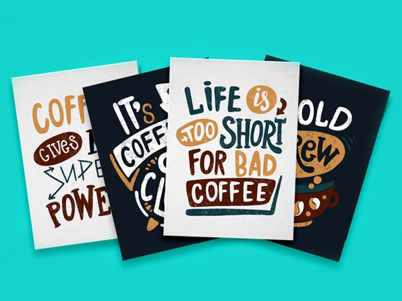 Handdrawn Coffee Quotes Lettering By Anastasia Nekrasova Dribbble