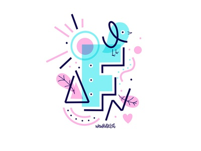 F Flower  Abstract Lettering