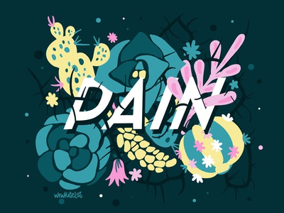 """Lettering With Flowers """"Pain"""""""
