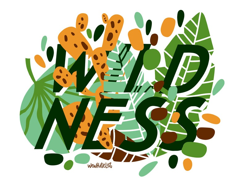 Wildness Jungles Lettering wild wildness bright green type flowers jungle hand lettering design typography cartoon prints posters quotes font postcard graphic handdrawn lettering illustration