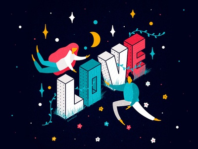 LOVE isometric type nature flat people isometric illustration isometric design isometry cartoon typography prints posters postcard font lettering handdrawn illustration
