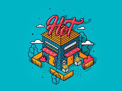 Hot colorful trees 2d illustration trendy isometric design home nature 2d art 2d isometric illustration isometric isometry cartoon typography prints posters postcard graphic handdrawn illustration