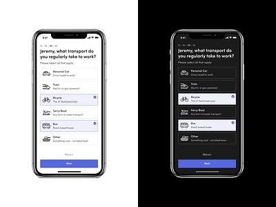 Onboarding - Mobile | Daily UI Throwback user flow steps signup onboarding minimal iphone dark ui blue mobile app design app daily ui