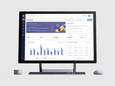 Dashboard - Financial Invoicing website design purple table welcome page notifications statistics stats web web apps sidebar blue minimal card ux ui invoice charts web design dashboard