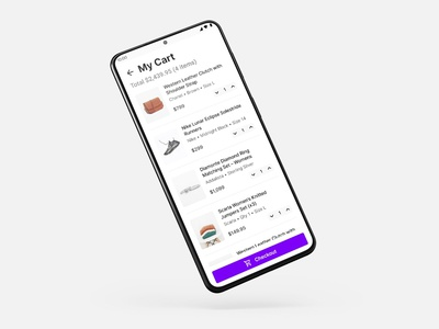 Daily UI 58 | Shopping Cart | Mobile | Android | App material design purple shopping app shopping cart checkout cart minimal ecommerce shopping clean android mobile mobile app ux design ux daily ui app