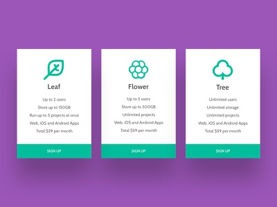Daily UI 30 - sign up cards card cyan purple website design pricing daily ui pricing daily ui 30 daily ui