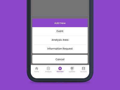 "Action Sheet ""Add New"" // iOS pop up modal app design app mobile design purple add action sheet mobile ios"