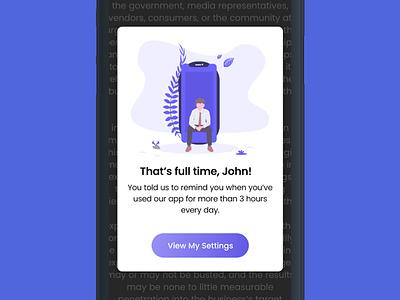 Pop-up Notification for Mobile mobile app app illustration blue button update alert overlay pop up notification