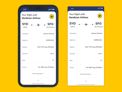 Daily UI 24 // Boarding Pass blue yellow mobile timeline progress table mobile design app design app boarding pass minimal clean daily ui