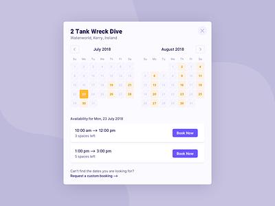 Calendar inter ui availability diving booking calendar