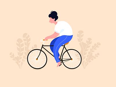 Biking minimal simple character procreate bike illustration