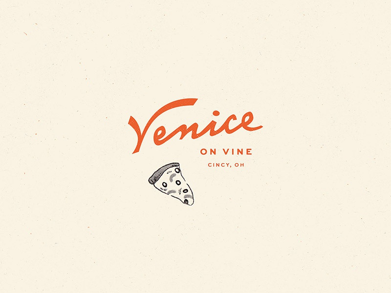 Venice on Vine red european vintage pizzaria watercolor illustration pizza restaurant script italian lettering logo