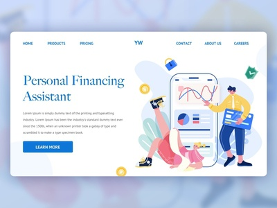 UI Illustration Theme Design|Finance landing page web graphic design ui illustration