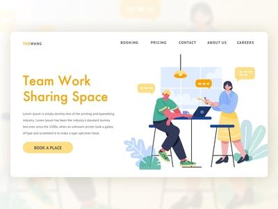 UI Illustration Theme Design|Work landing page web graphic design ui illustration