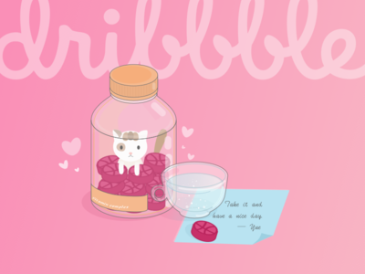 Hi Dribbble cats debuts illustration