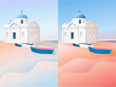 Dawn and dusk digital art santorini illustration