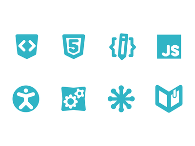 icons for WebPlatform.org  icons icon pictogram pictograms html html 5 css js accessibility api svg concept