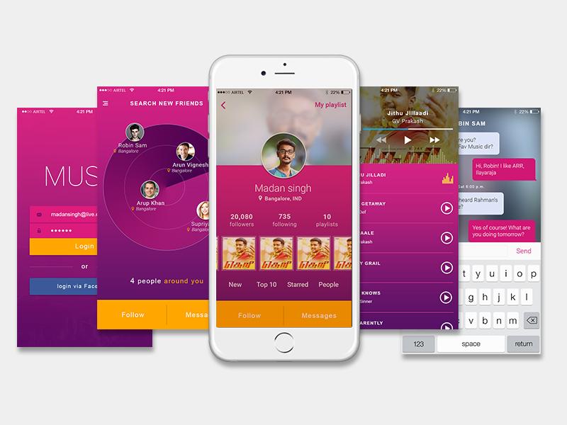 Music - Mobile App design gradient interface user flat ux player music ios app