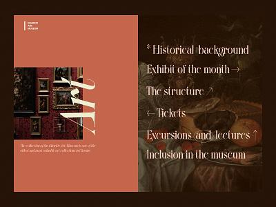 Museum of Art   Homepage dark ui paintings serif font unique typeface museum art ux ui design