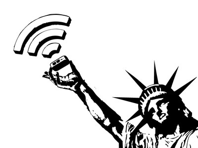 Statue of WiFi statue of liberty internet freedom wifi router