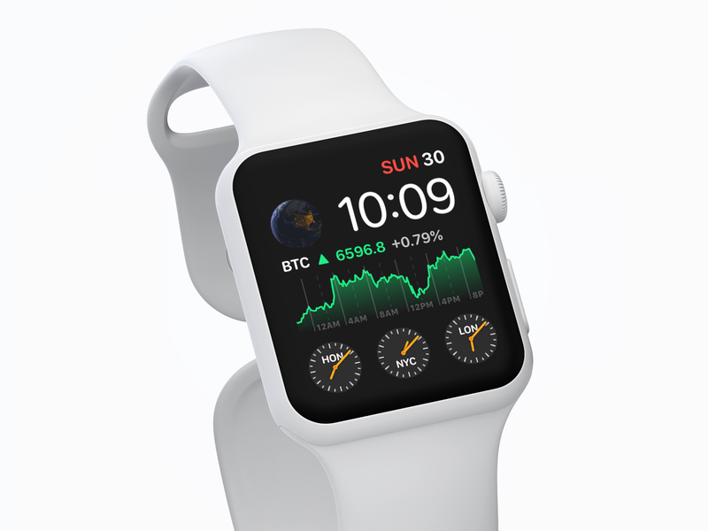 Crypto Pro™️ Apple Watch complication series 4 crypto btc watch face chart graph bitcoin complication apple watch
