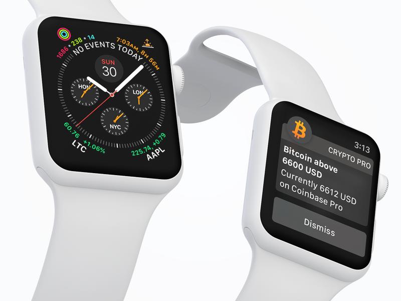 Crypto Pro™️ Apple Watch Promo notification series 4 crypto ethereum litecoin bitcoin complication apple watch