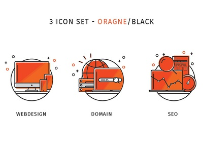 3 icon set - orange / black