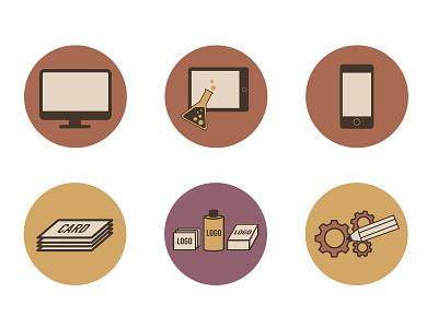 Icon Set Design Factory icons web flat