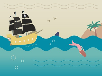 Pirates & mermaid   island sea illustration mermaid pirates