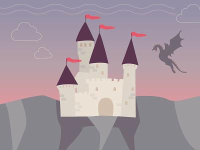 Middle-age castle & dragon medieval middleage castle dragon