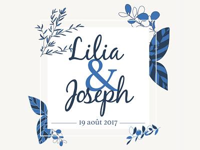 Lilia & Joseph Wedding - branding  olive leaf branch blue stationary leaflet branding wedding