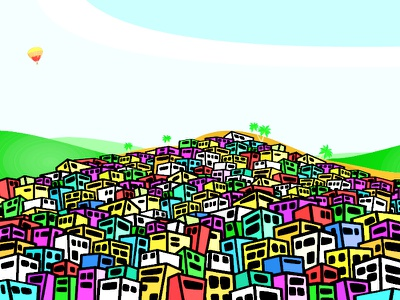 Favela illustration the son of toza vector poster brazil palms hills favela