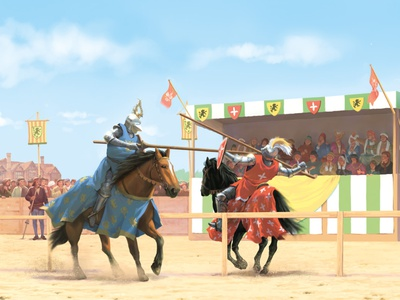 Medieval jousting scene nonfiction history storybook middleages medieval childrensbook bookillustration photoshop painting illustration