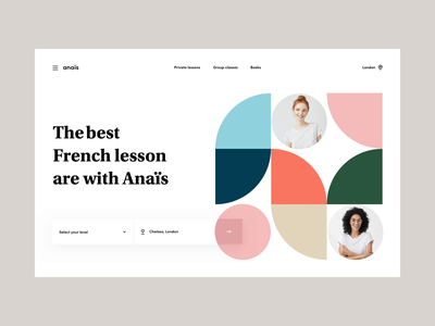 Anais & co - Landing page london geometrical shapes minimal motion design animation webdesign fwa awwwards technology education lessons french classes teaching tutor website homepage