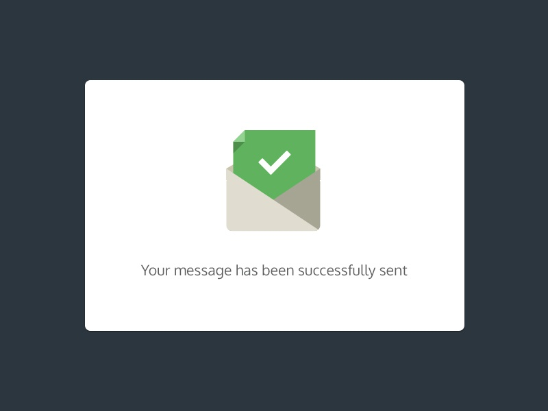 Successfully Sending interface ui popup flat minimal simple button envelop mail