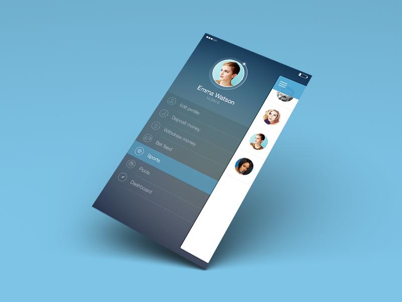 Dribbble screen menu