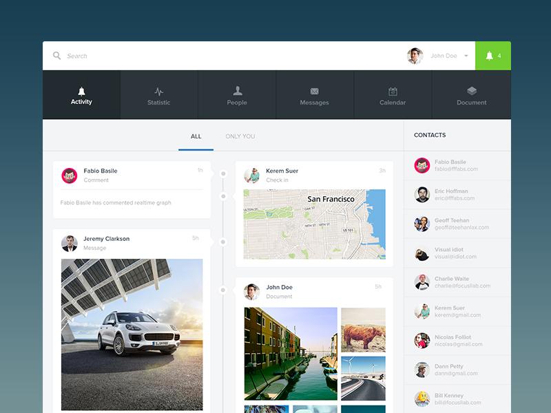 Simplissime activity feed profile photos feed activity timeline web app ui ux flat minimal simple app