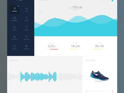 Sports & health app dashboard fitness sport health running flat simple ui ux graph medical data