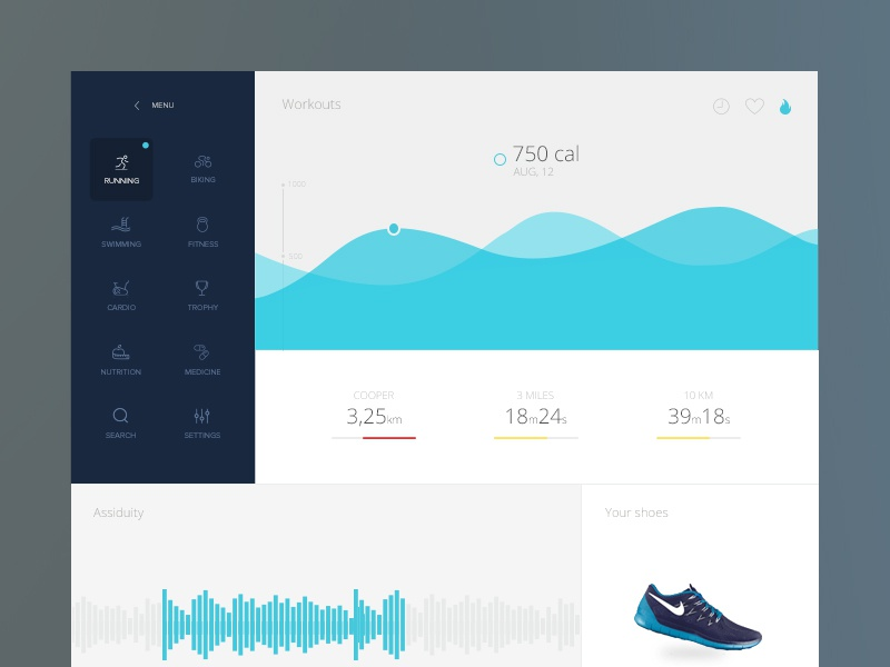 Sports & health app dashboard fitness sport health running flat simple ui ux graph medical data
