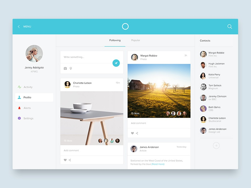 Activity screen activity feed stream timeline profile material flat simple ui ux photo desktop