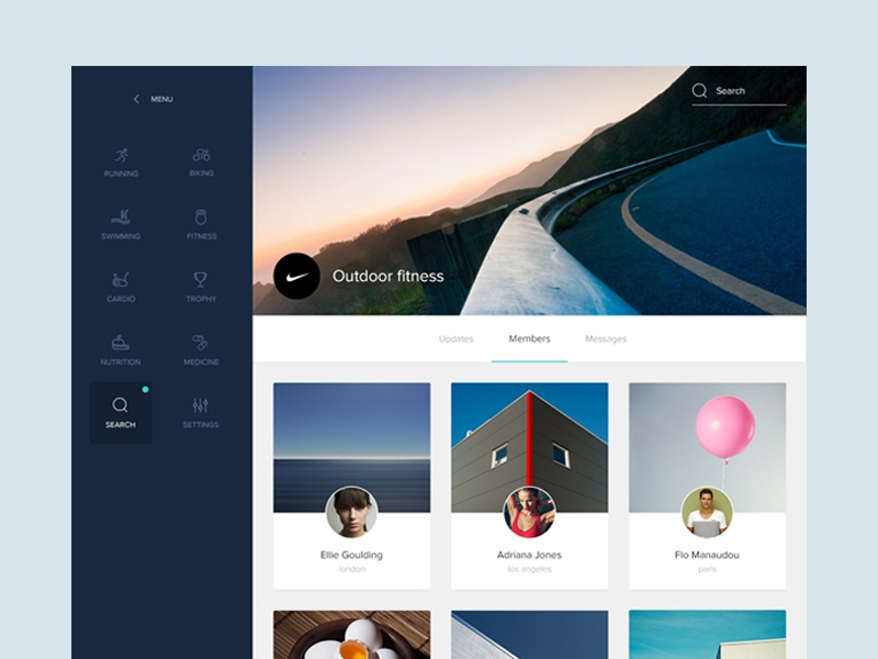 Sport group screen group feed stream timeline profile material flat simple ui ux photo desktop